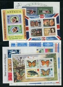 Antigua QEII 1973-75 MS various miniature sheets (13) MNH (two scans)