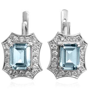 Russian Jewelry 14k Solid White Gold Created Aquamarine Earrings e1526