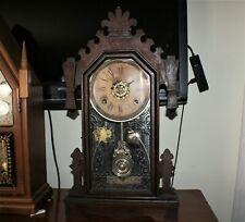 New ListingAntique 1882 Ansonia Mantel/Wall Clock Gingerbread w/ Chime & Alarm! Working!