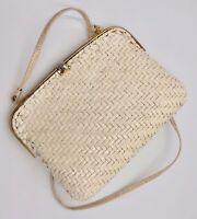 Vintage RODO Italy Glazed HardShell Woven Ivory Shoulder Bag Purse