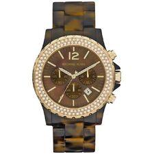 Michael Kors Uhr MK5557 Damen Chronograph Edelstahl Gold Acryl Braun Armbanduhr