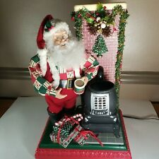 Trim A Home Santa By Potbelly Stove with Light, Animated. Tested and working!