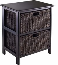 End Accent Table Furniture With 2 Storage Baskets Home Living Room Side Stand