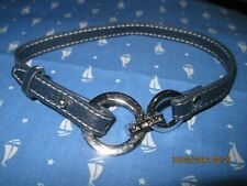 VINTAGE BEAUTIFUL LIA SOPHIA BLUE LEATHER COLLAR W/ SILVER CIRCLE CHOKER..9546