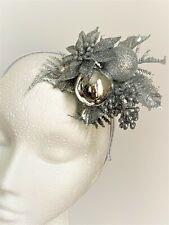 Silver Christmas New Year Fascinator Hat Headpiece Hairband Winter hatinator