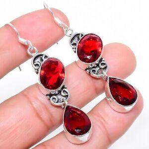 "Garnet Gemstone Handmade Ethnic Jewelry Earring 2.4"" RE831"