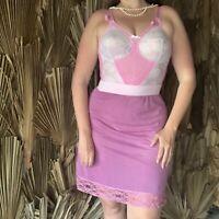 Vintage Half Slip Size XL Purple Pink Lace Silky Nylon Lingerie
