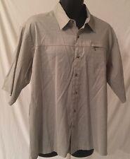 Red Head Button Front Short Sleeve Men's Shirt Sz XL Green Plaid Zippered Pocket