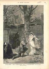 Le roi s'amuse Drame de Victor Hugo La Maison de Triboulet Blanche GRAVURE 1882