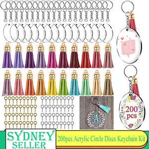200x Clear Acrylic Circle Discs Keychain Blanks Tassel Pendants Keyring DIY Kit