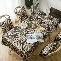 Polyester Waterproof Table Cloth Brown Monstera Print Table Cover Backdrop