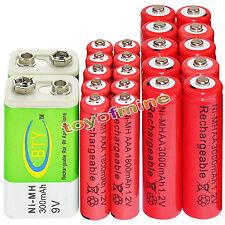 10xAA 3000mAh+10x AAA 1800mAh 1.2V NI-MH batteria ricaricabile+2x BTY 9V 300mAh