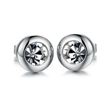 8mm Wide Round Cut 5mm White CZ Silver Surgical Stainless Steel Stud Earrings