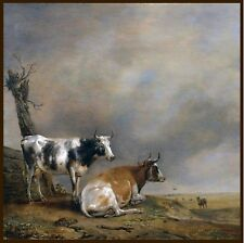 Paulus P Potter Two Cows and a Goat, antique painting classics, BEAUTIFUL ART