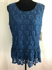 ny collection petite womens blue lace lined sleeveless top size PXL