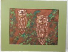 "FRANKIE BOWEN Painting on fabric OWLS Signed Original 10 1/4""W x 7 7/8""T"