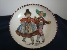 Enamel on Metal Trinket Dish Bowl Fork Art Couple Old World Style Hand Painted
