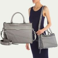 NWT ❄️ $348 Rebecca Minkoff Bedford Zip Leather Satchel Grey (Silver Hardware)