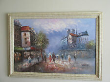 "ANTIQUE FRENCH OIL PAINTING, IMPOSING NOTRE DAME CATHEDRAL, 41 1/4""W x 29 1/2""H"