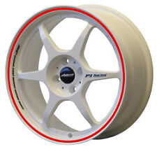 "BUDDY CLUB SF 18"" x 7.5J ET48 5x100 WHITE AND RED ALLOY WHEELS RIMS SET 4 Y2402"
