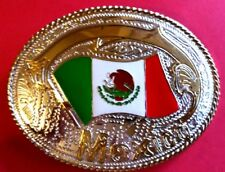 Large *Mexico* Country Flag And Souvenir Belt Buckle - New!