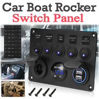 5 Gang 12V Switch Panel Control USB ON-OFF Rocker Toggle For Car Boat Marine New