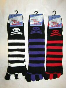 Striped Toe Socks Skull Crossbones One Size Knee High Black Red White Purple