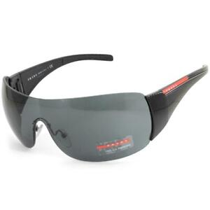 Prada Sport PS02LS 1AB1A1 Black/Grey Unisex Shield Designer Sunglasses