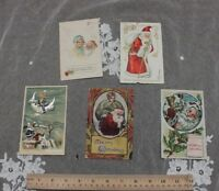 5 Vintage Christmas/Holiday Paper Postcards~1907-1914~Stamped