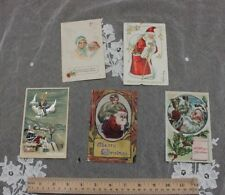 5 Vintage Christmas/Holiday Paper Postcards~1907-1914~Stamp ed