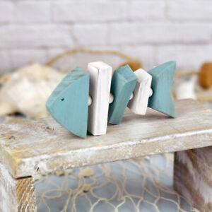 Blue & White Moveable Wooden Fish Bones Decorative Nautical Ornament 52468