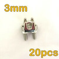 20x STAINLESS STEEL 3MM WIRE ROPE GRIP CLIP CABLE CLAMP FASTENER 3.2MM ROPE (A)