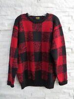 Brooks Brothers Vintage Red & Black Buffalo Plaid Check Wool Sweater L PRISTINE!