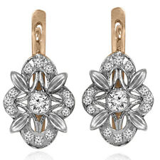 14k Solid Rose and White Gold Genuine Diamond Russian Style Earrings GSI1 E1457