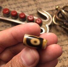 Broken Antique Ancient Old Tibetan 3 Three Eye Gzi Dzi Amulet Bead NECKLACE