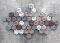 *HEXAHEDRON* 3D Decorative Wall Panels Set of 5 pcs ABS Plastic mold for Plaster