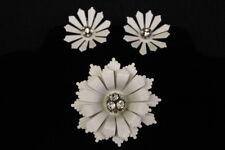 Vintage Signed CORO White Enamel & Rhinestone Flower Pin Brooch w/Earrings Set