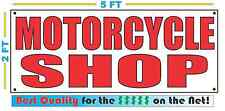 Red MOTORCYCLE SHOP 2X5 Banner Sign NEW Size Best Quality for The $$$