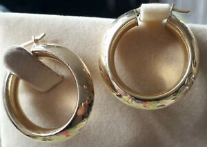 VINTAGE 18k / 18ct / 750 Yellow GOLD Large Creole Style HOOP Earrings 3.8g