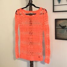 Hollister Women's S Scoop neck Long Sleeve Bright Orange Crochet Sweater EUC