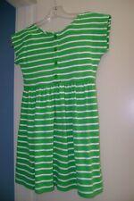 HANNA ANDERSSON green & white striped Dress & striped Bike Shorts-120  6-7 US
