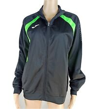 Joma S Black Green Accent Zip Up Long Sleeve Zippered Pockets Jacket