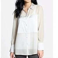 Eileen Fisher Silk & Satin Paneled Button Down Tunic Top Beige Size Small