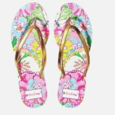 New Women's Size 8 Lilly Pulitzer Nosie Posey Floral Pink Gold Flip Flop Sandals