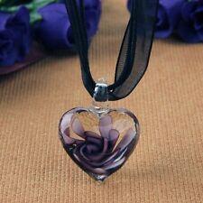 Murano Glass Pendant Necklace Purple Heart Flowers N3