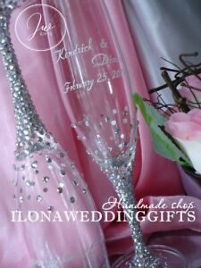 Swarovski Crystal Personalized Gold Wedding Champagne Toast Glass Flutes Sparkle