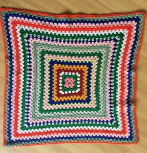 Hand Made Pet dog Blanket 83cm x 83cm Crocheted Knitted