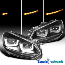 For 2010-2014 Golf GTI MK6 Projector Headlights Black LED Sequential Signal