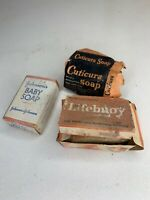 Vintage Soaps Lifebuoy Johnson's baby Cuticura 3 bars  in boxes