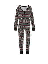 Victoria's Secret PINK Long Jane Thermal Pajama Black Fair Isle Medium M